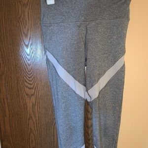 Aerie Play Grey and White Mesh Leggings